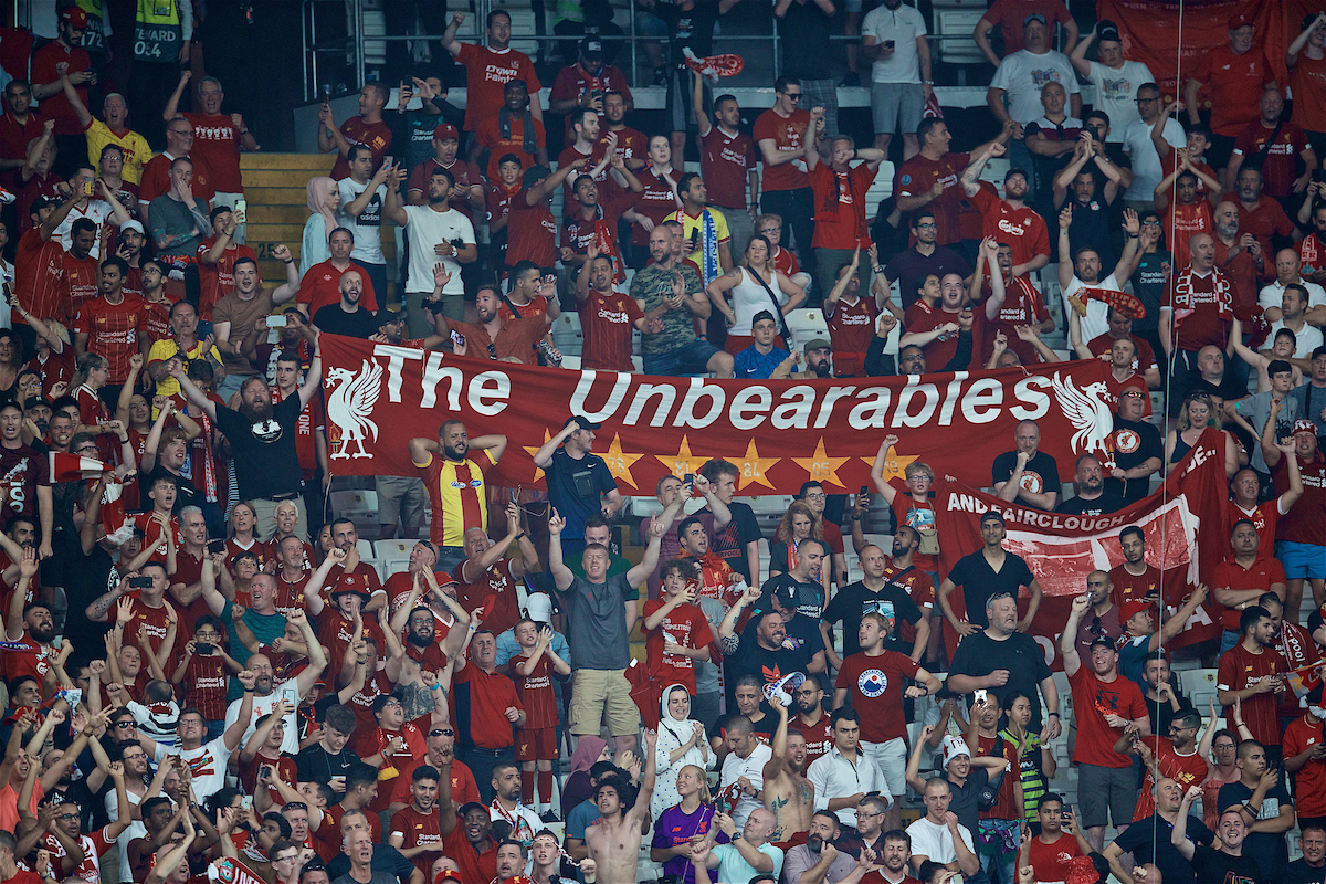 ISTANBUL, TURKEY - Wednesday, August 14, 2019: Liverpool supporters 'The Unbearables' celebrate after their side won the Super Cup after the UEFA Super Cup match between Liverpool FC and Chelsea FC at Besiktas Park. Liverpool won 5-4 on penalties after a 1-1 draw. (Pic by David Rawcliffe/Propaganda)