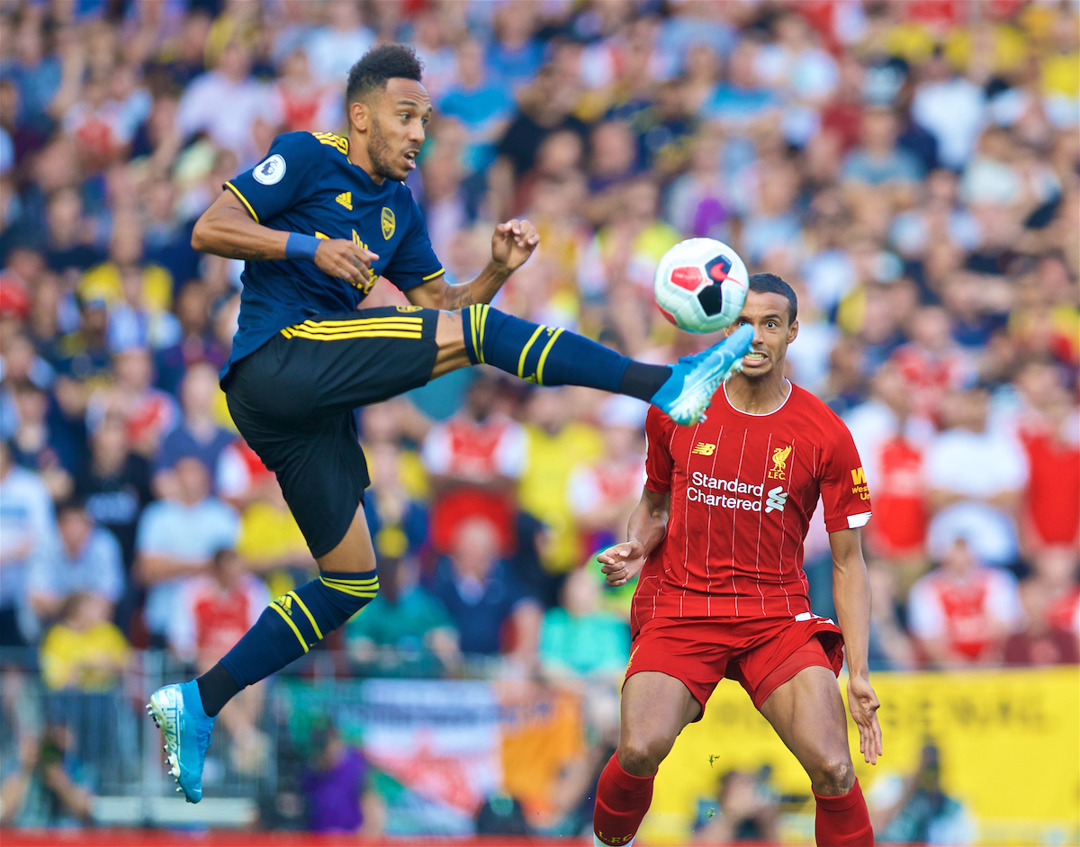 LIVERPOOL, ENGLAND - Saturday, August 24, 2019: Arsenal's Pierre-Emerick Aubameyang during the FA Premier League match between Liverpool FC and Arsenal FC at Anfield. (Pic by David Rawcliffe/Propaganda)