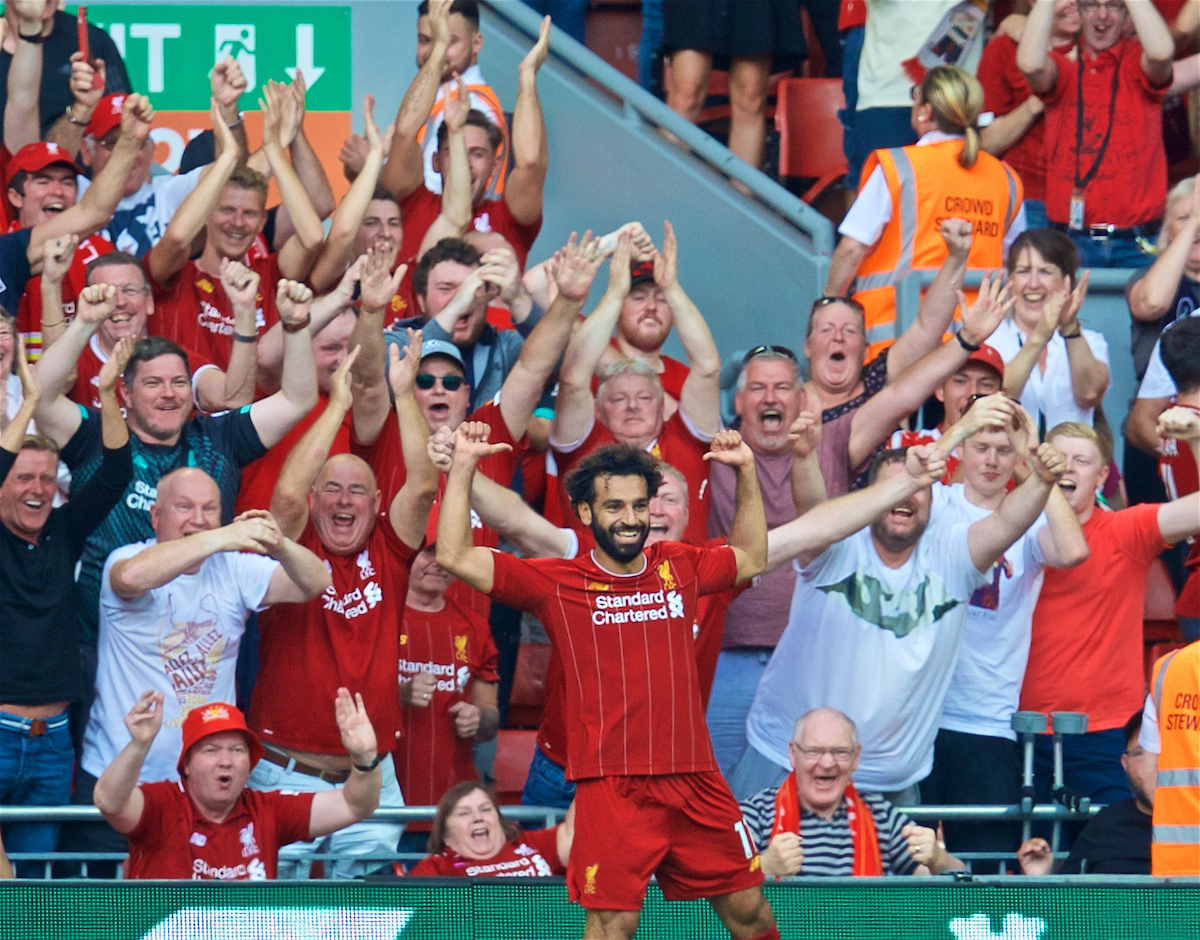LIVERPOOL, ENGLAND - Saturday, August 24, 2019: Liverpool's Mohamed Salah celebrates scoring the third goal during the FA Premier League match between Liverpool FC and Arsenal FC at Anfield. (Pic by David Rawcliffe/Propaganda)