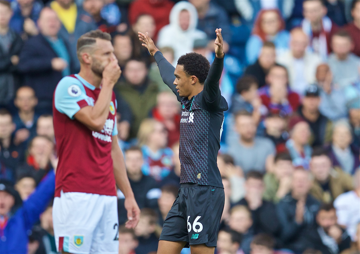 BURNLEY, ENGLAND - Saturday, August 31, 2019: Liverpool's Trent Alexander-Arnold celebrates scoring the first goal during the FA Premier League match between Burnley FC and Liverpool FC at Turf Moor. (Pic by David Rawcliffe/Propaganda)
