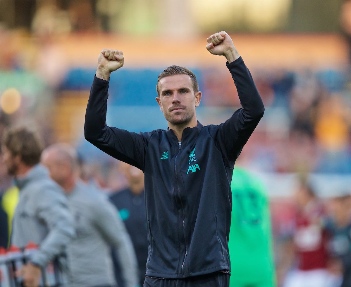 BURNLEY, ENGLAND - Saturday, August 31, 2019: Liverpool's captain Jordan Henderson celebrates after the FA Premier League match between Burnley FC and Liverpool FC at Turf Moor. Liverpool won 3-0. (Pic by David Rawcliffe/Propaganda)