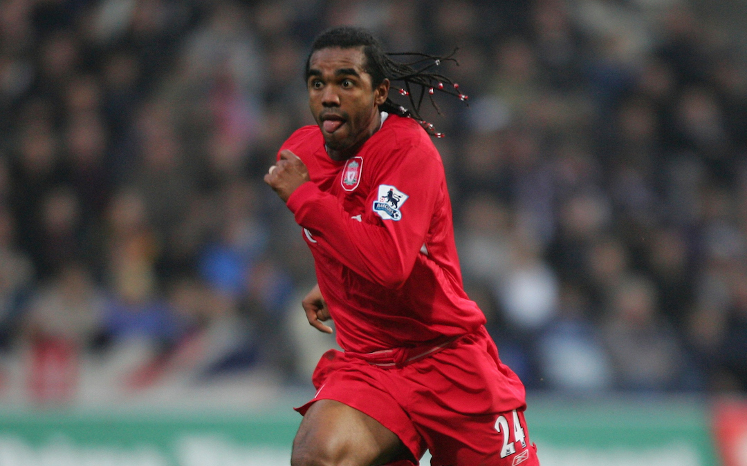 BOLTON, ENGLAND - MONDAY, JANUARY 2nd, 2006: Liverpool's Florent Sinama-Pongolle in action against Bolton Wanderers during the Premiership match at the Reebok Stadium. (Pic by David Rawcliffe/Propaganda)