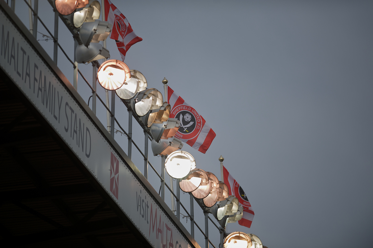 SHEFFIELD, ENGLAND - Saturday, March 17, 2012: Floodlights and flags at Bramall Lane, home of Sheffield United as they take on Tranmere Rovers during the Football League One match. (Pic by David Rawcliffe/Propaganda)