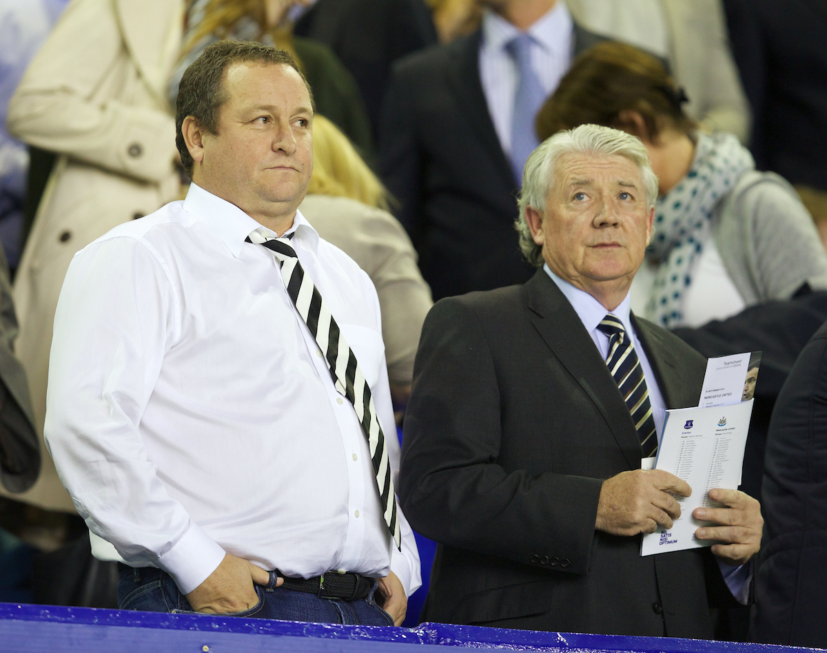 LIVERPOOL, ENGLAND - Monday, September 30, 2013: Newcastle United's owner Mike Ashley and Director Football Joe Kinnear during the Premiership match against Everton at Goodison Park. (Pic by David Rawcliffe/Propaganda)