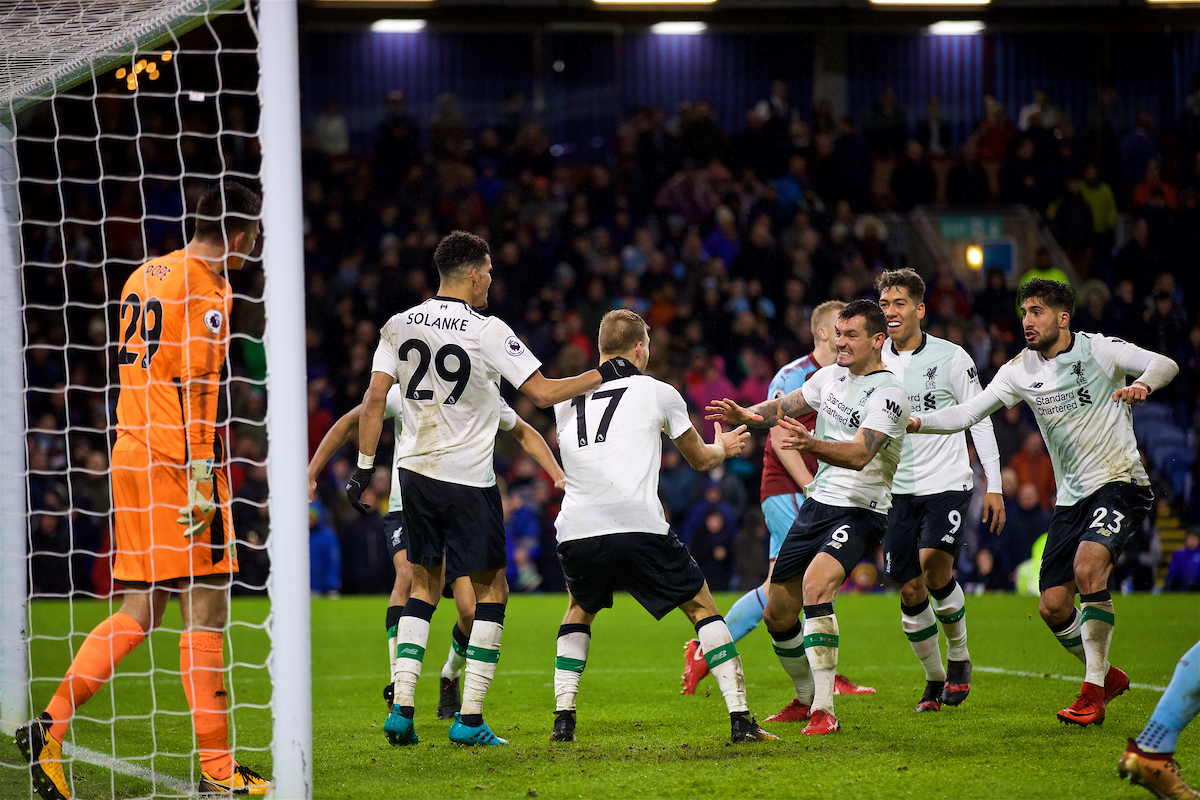 LIVERPOOL, ENGLAND - Saturday, December 30, 2017: Liverpool's Ragnar Klavan celebrates scoring the winning second goal with a header with team-mate Dominic Solanke and Dejan Lovren during the FA Premier League match between Liverpool and Leicester City at Anfield. (Pic by David Rawcliffe/Propaganda)