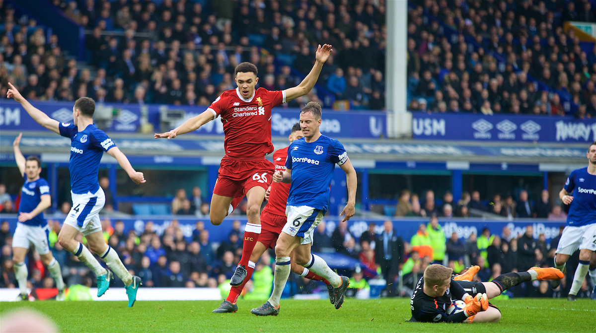 LIVERPOOL, ENGLAND - Saturday, April 7, 2018: Liverpool's Trent Alexander-Arnold during the FA Premier League match between Everton and Liverpool, the 231st Merseyside Derby, at Goodison Park. (Pic by David Rawcliffe/Propaganda)