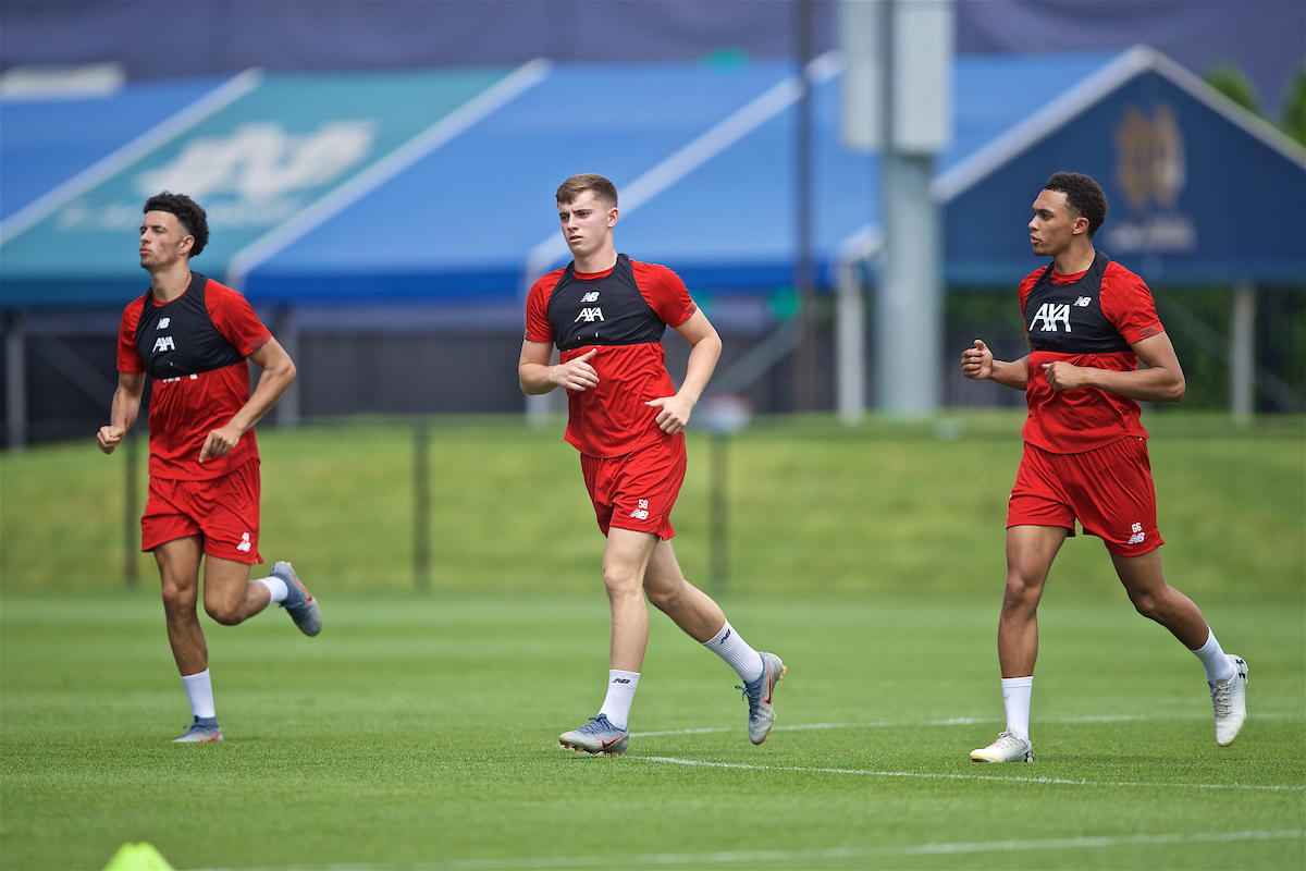 SOUTH BEND, INDIANA, USA - Thursday, July 18, 2019: Liverpool's Curtis Jones, Ben Woodburn and Trent Alexander-Arnold during a training session ahead of the friendly match against Borussia Dortmund at the Notre Dame Stadium on day three of the club's pre-season tour of America. (Pic by David Rawcliffe/Propaganda)