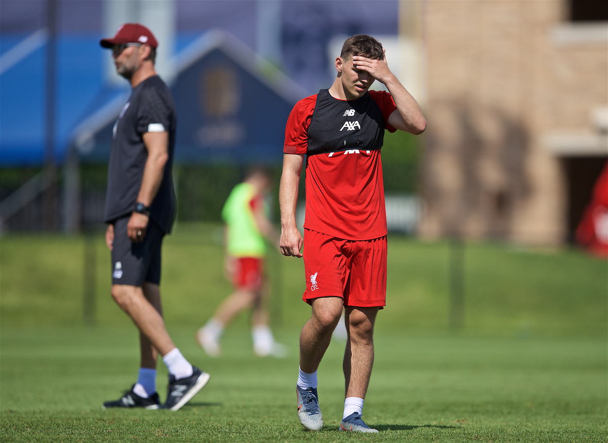 SOUTH BEND, INDIANA, USA - Thursday, July 18, 2019: Liverpool's Bobby Duncan during a training session ahead of the friendly match against Borussia Dortmund at the Notre Dame Stadium on day three of the club's pre-season tour of America. (Pic by David Rawcliffe/Propaganda)