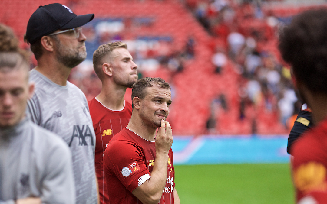 LONDON, ENGLAND - Sunday, August 4, 2019: Liverpool's Xherdan Shaqiri looks dejected after the FA Community Shield match between Manchester City FC and Liverpool FC at Wembley Stadium. Manchester City won 5-4 on penalties after a 1-1 draw. (Pic by David Rawcliffe/Propaganda)