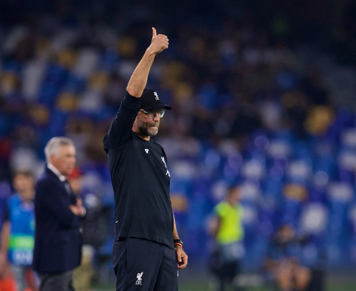 NAPLES, ITALY - Tuesday, September 17, 2019: Liverpool's manager Jürgen Klopp reacts during the UEFA Champions League Group E match between SSC Napoli and Liverpool FC at the Studio San Paolo. (Pic by David Rawcliffe/Propaganda)