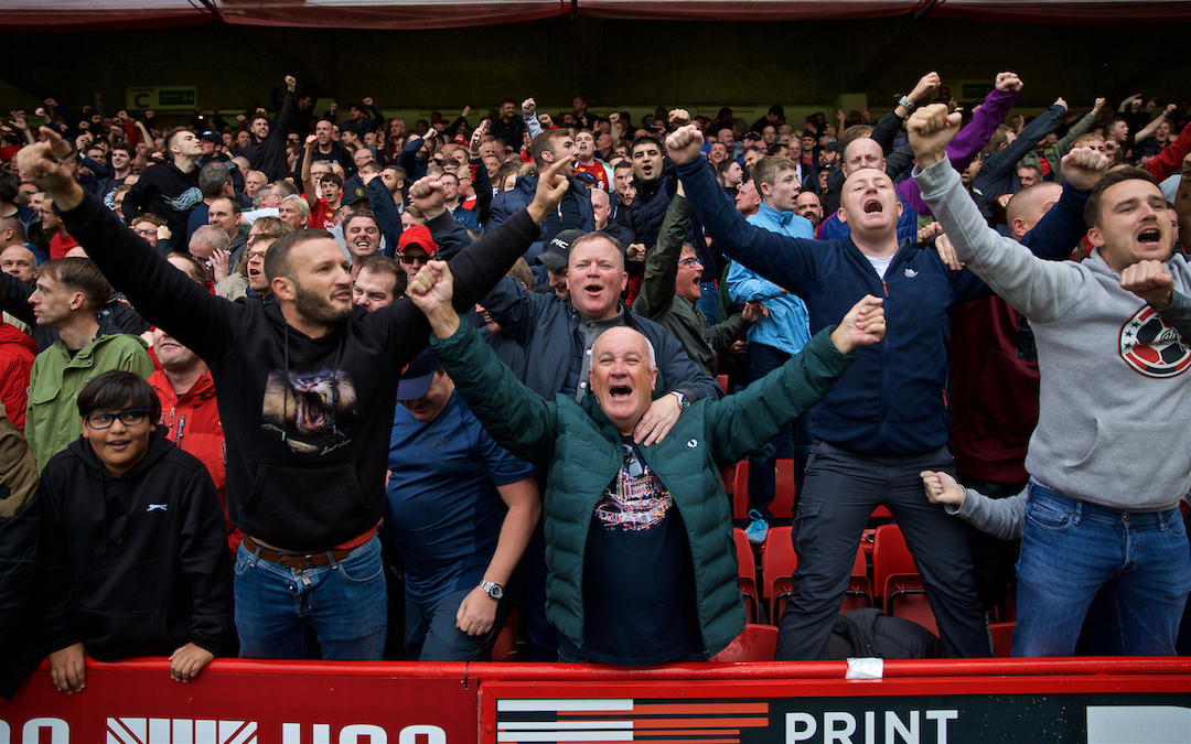 SHEFFIELD, ENGLAND - Thursday, September 26, 2019: Liverpool supporters celebrate their side's winning goal during the FA Premier League match between Sheffield United FC and Liverpool FC at Bramall Lane. Liverpool won 1-0. (Pic by David Rawcliffe/Propaganda)