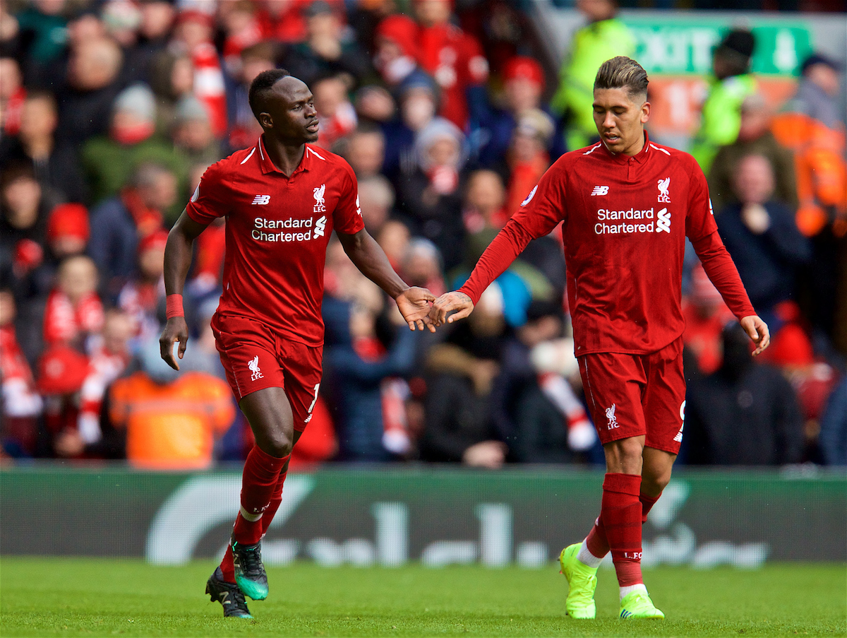 LIVERPOOL, ENGLAND - Saturday, March 9, 2019: Liverpool's Sadio Mane celebrates scoring the second goal with team-mate Roberto Firmino during the FA Premier League match between Liverpool FC and Burnley FC at Anfield. (Pic by David Rawcliffe/Propaganda)