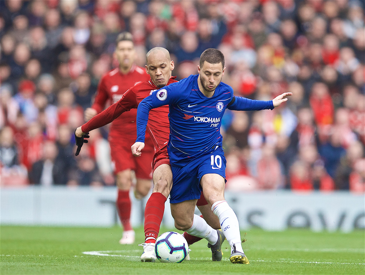LIVERPOOL, ENGLAND - Sunday, April 14, 2019: Liverpool's Fabio Henrique Tavares 'Fabinho' (L) and Eden Hazard during the FA Premier League match between Liverpool FC and Chelsea FC at Anfield. (Pic by David Rawcliffe/Propaganda)