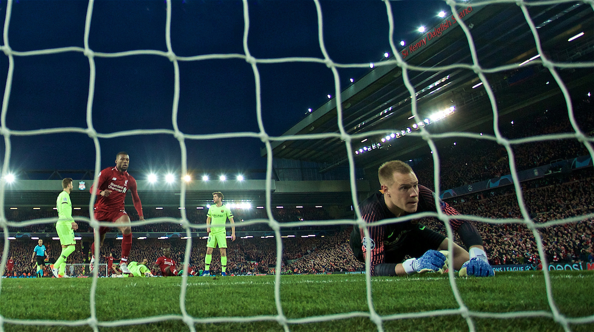 LIVERPOOL, ENGLAND - Tuesday, May 7, 2019: Liverpool's Georginio Wijnaldum races into the net to retrieve the ball after scoring the second goal as FC Barcelona's goalkeeper Marc-André ter Stegen looks on dejected during the UEFA Champions League Semi-Final 2nd Leg match between Liverpool FC and FC Barcelona at Anfield. (Pic by David Rawcliffe/Propaganda)