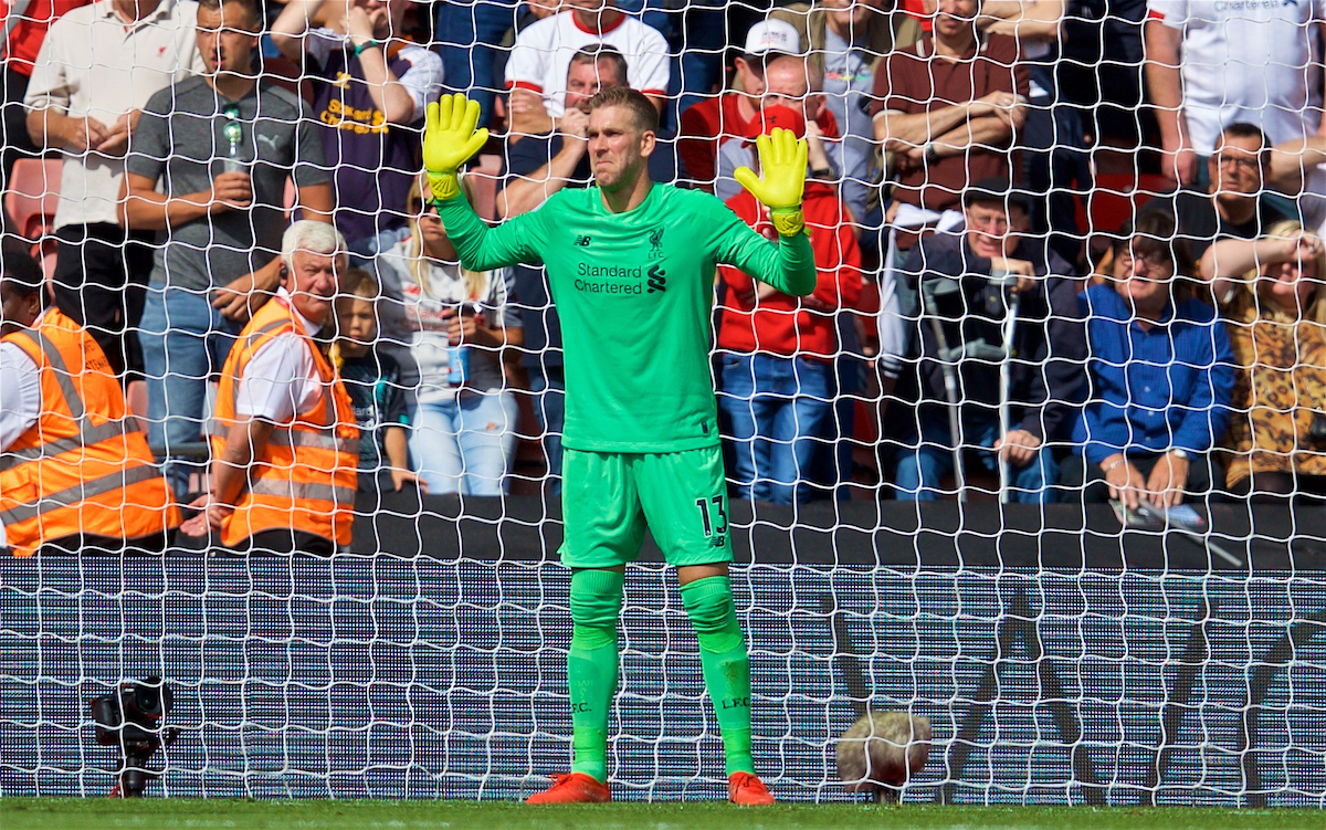 LIVERPOOL, ENGLAND - Saturday, August 17, 2019: Liverpool's goalkeeper Adrián San Miguel del Castillo reacts during the FA Premier League match between Southampton FC and Liverpool FC at St. Mary's Stadium. (Pic by David Rawcliffe/Propaganda)