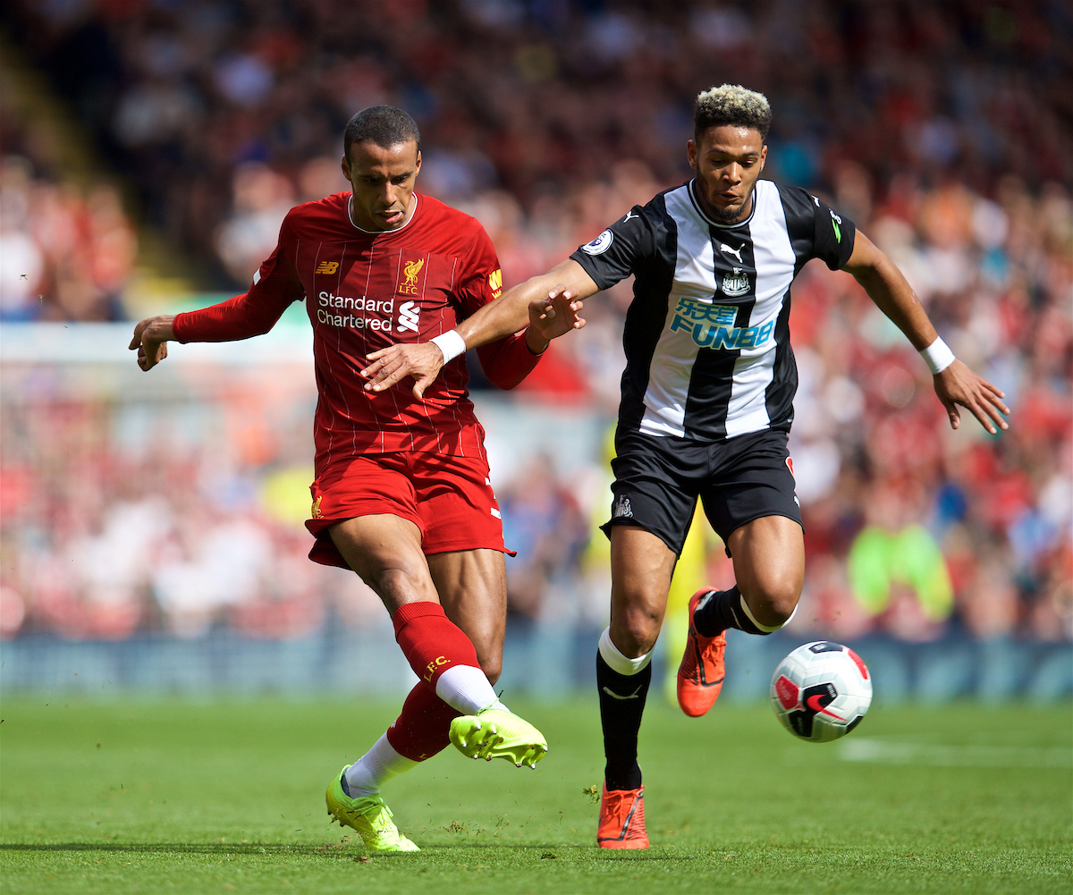 LIVERPOOL, ENGLAND - Saturday, September 14, 2019: Liverpool's Joel Matip (L) during the FA Premier League match between Liverpool FC and Newcastle United FC at Anfield. (Pic by David Rawcliffe/Propaganda)