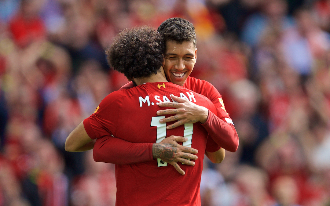 LIVERPOOL, ENGLAND - Saturday, September 14, 2019: Liverpool's Mohamed Salah (#11) celebrates scoring the third goal with team-mate Roberto Firmino during the FA Premier League match between Liverpool FC and Newcastle United FC at Anfield. (Pic by David Rawcliffe/Propaganda)