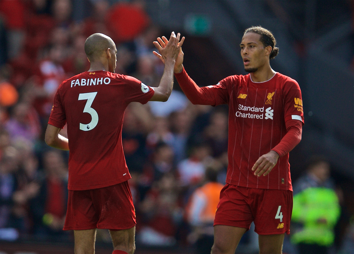 LIVERPOOL, ENGLAND - Saturday, September 14, 2019: Liverpool's Virgil van Dijk (R) and Fabio Henrique Tavares 'Fabinho' celebrate after the FA Premier League match between Liverpool FC and Newcastle United FC at Anfield. Liverpool won 3-1. (Pic by David Rawcliffe/Propaganda)