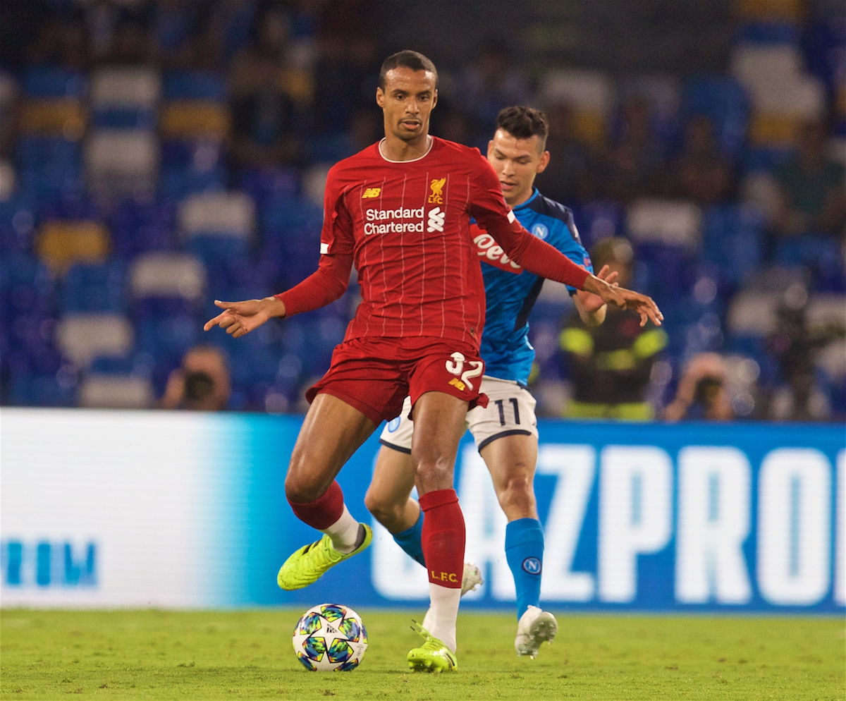 NAPLES, ITALY - Tuesday, September 17, 2019: Liverpool's Joel Matip (L) and SSC Napoli's Hirving Lozano during the UEFA Champions League Group E match between SSC Napoli and Liverpool FC at the Studio San Paolo. (Pic by David Rawcliffe/Propaganda)