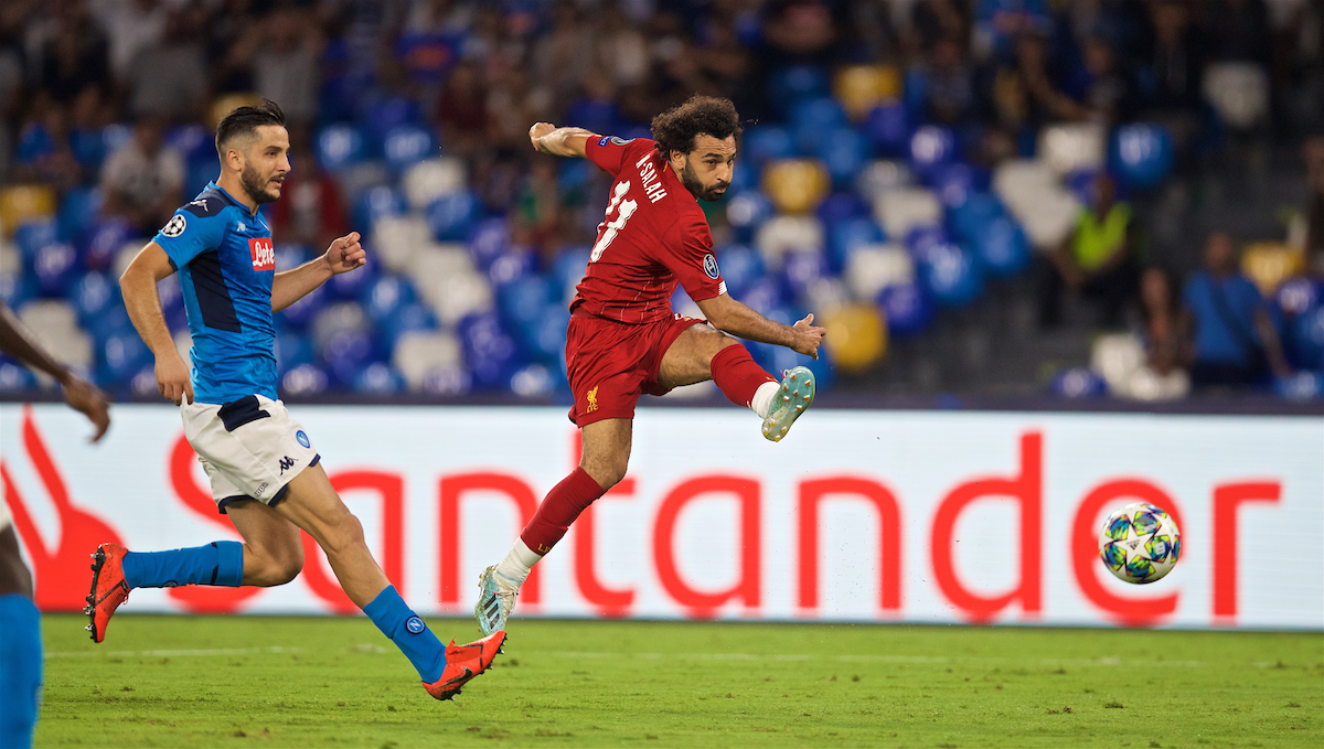 NAPLES, ITALY - Tuesday, September 17, 2019: Liverpool's Mohamed Salah shoots during the UEFA Champions League Group E match between SSC Napoli and Liverpool FC at the Studio San Paolo. (Pic by David Rawcliffe/Propaganda)