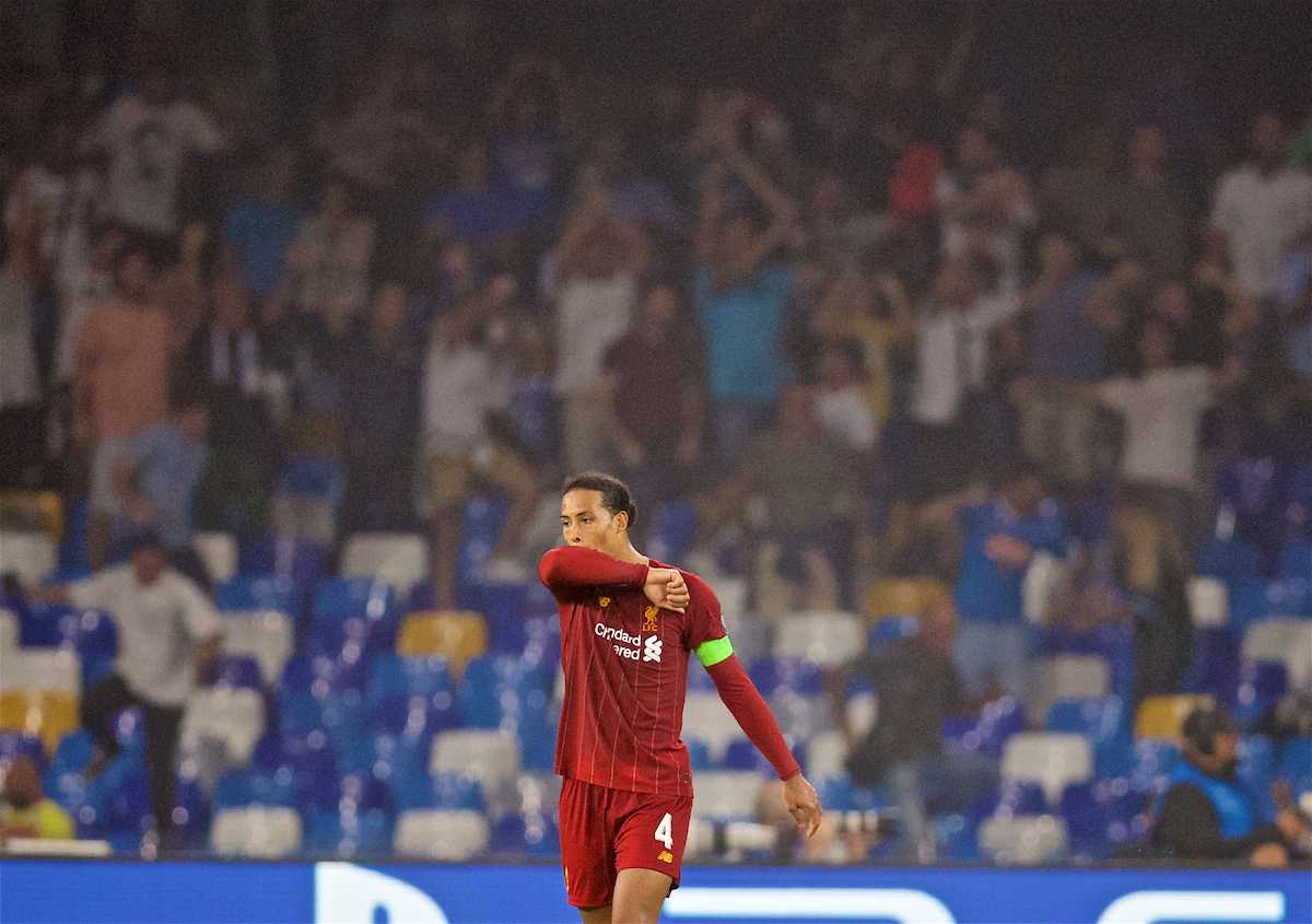 NAPLES, ITALY - Tuesday, September 17, 2019: Liverpool's Virgil van Dijk looks dejected after his mistake led to SSC Napoli's second goal during the UEFA Champions League Group E match between SSC Napoli and Liverpool FC at the Studio San Paolo. Napoli won 2-0. (Pic by David Rawcliffe/Propaganda)