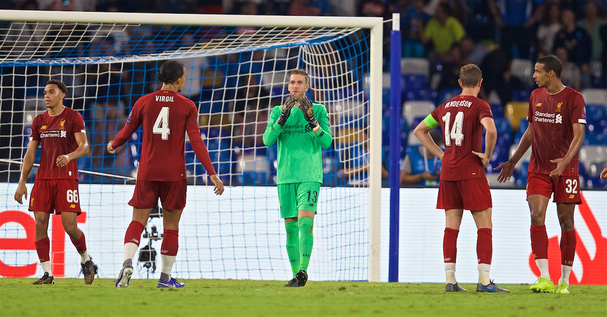 NAPLES, ITALY - Tuesday, September 17, 2019: Liverpool's goalkeeper Adrián San Miguel del Castillo looks dejected as a penalty is awarded to SSC Napoli during the UEFA Champions League Group E match between SSC Napoli and Liverpool FC at the Studio San Paolo. (Pic by David Rawcliffe/Propaganda)