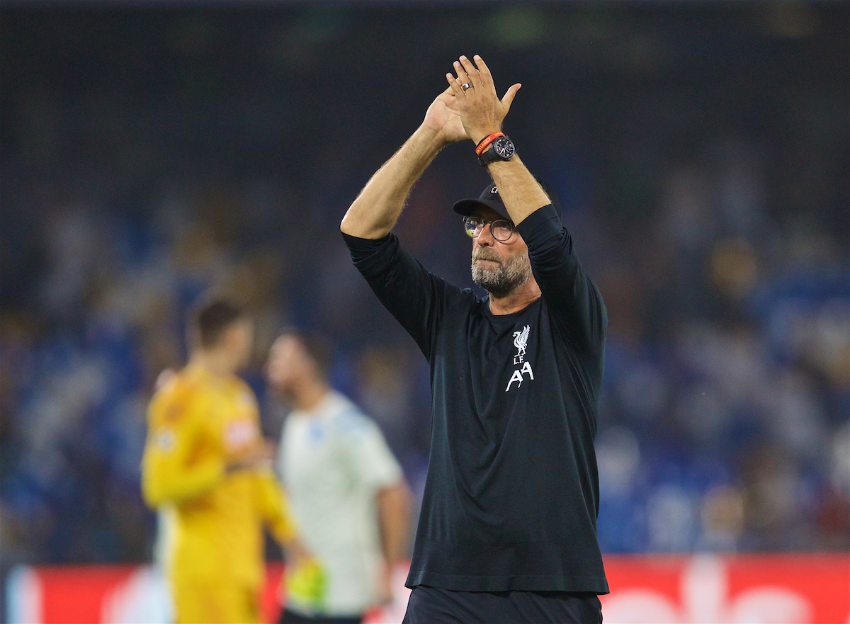 NAPLES, ITALY - Tuesday, September 17, 2019: Liverpool's manager Jürgen Klopp applauds the supporters after the UEFA Champions League Group E match between SSC Napoli and Liverpool FC at the Studio San Paolo. Napoli won 2-0. (Pic by David Rawcliffe/Propaganda)