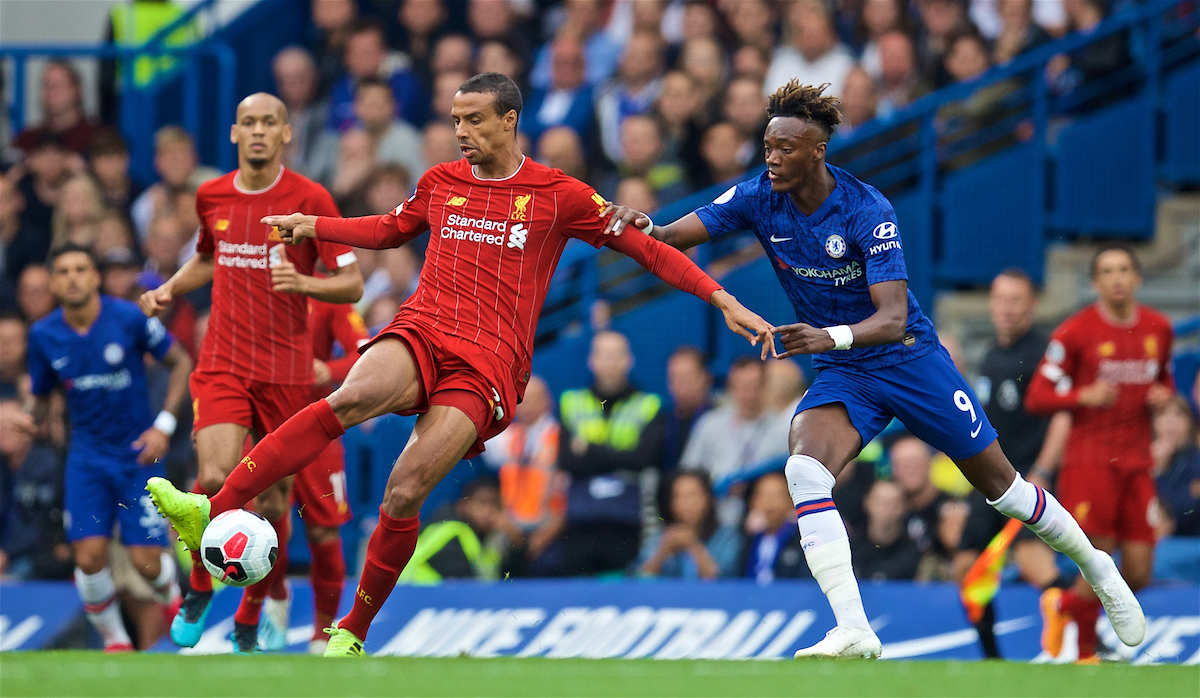 LONDON, ENGLAND - Sunday, September 22, 2019: Liverpool's Joel Matip (L) and Chelsea's Tammy Abraham during the FA Premier League match between Chelsea's  FC and Liverpool FC at Stamford Bridge. (Pic by David Rawcliffe/Propaganda)