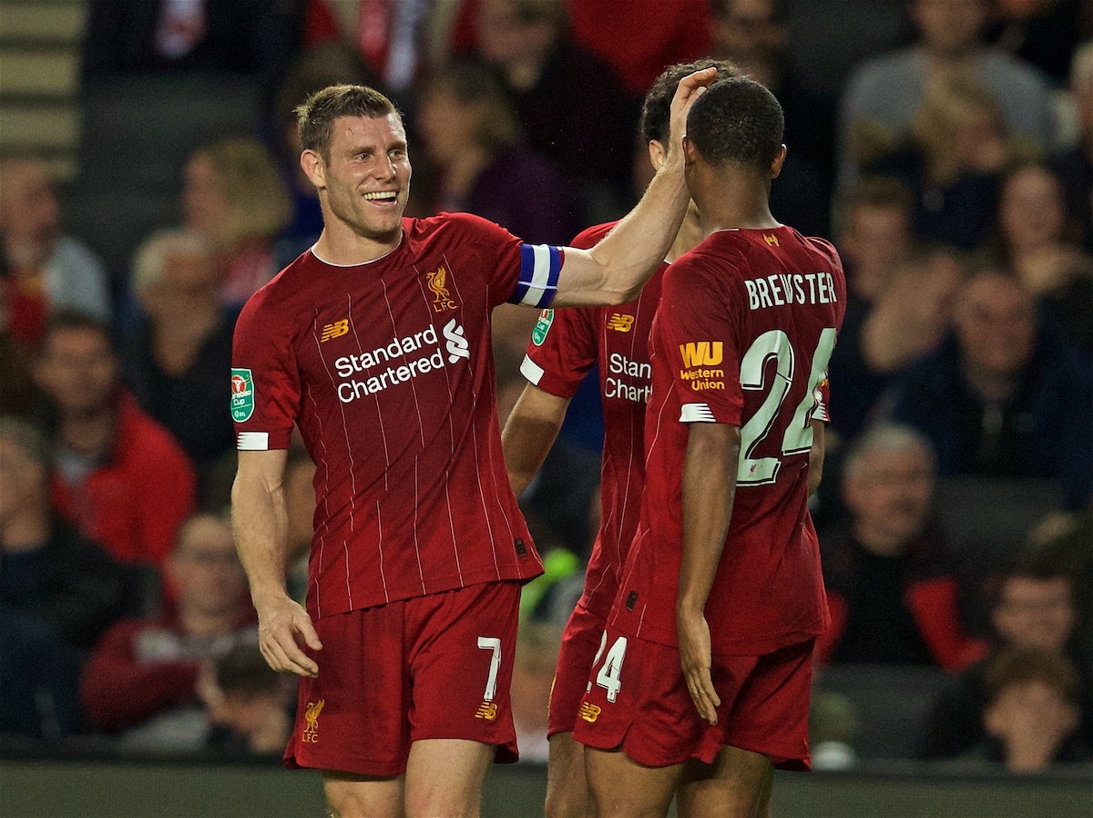 MILTON KEYNES, ENGLAND - Wednesday, September 25, 2019: Liverpool's James Milner celebrates scoring the first goal with team-mates during the Football League Cup 3rd Round match between MK Dons FC and Liverpool FC at Stadium MK. (Pic by David Rawcliffe/Propaganda)