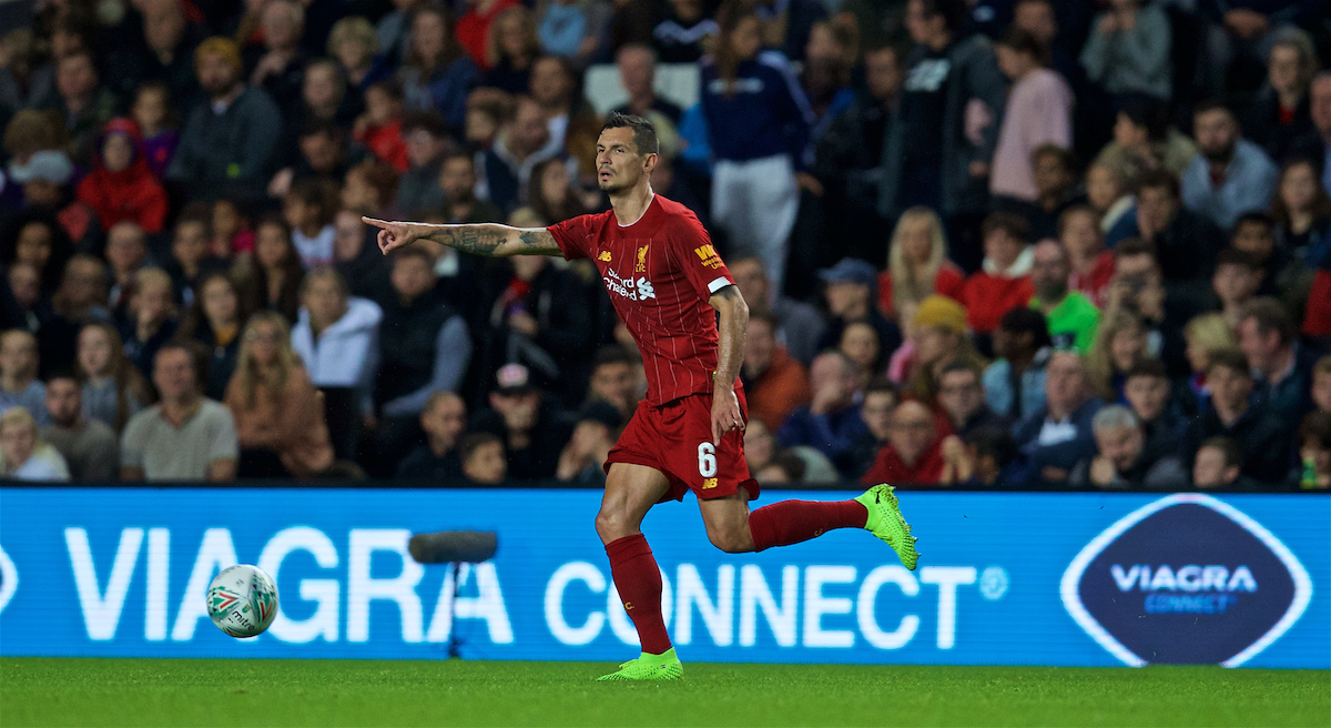 MILTON KEYNES, ENGLAND - Wednesday, September 25, 2019: Liverpool's Dejan Lovren during the Football League Cup 3rd Round match between MK Dons FC and Liverpool FC at Stadium MK. (Pic by David Rawcliffe/Propaganda)