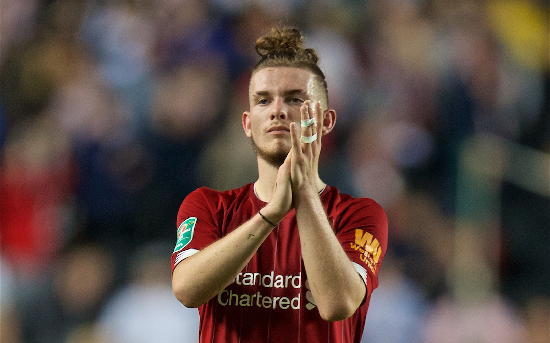 MILTON KEYNES, ENGLAND - Wednesday, September 25, 2019: Liverpool's Harvey Elliott applauds the travelling supporters after the Football League Cup 3rd Round match between MK Dons FC and Liverpool FC at Stadium MK. Liverpool won 2-0. (Pic by David Rawcliffe/Propaganda)