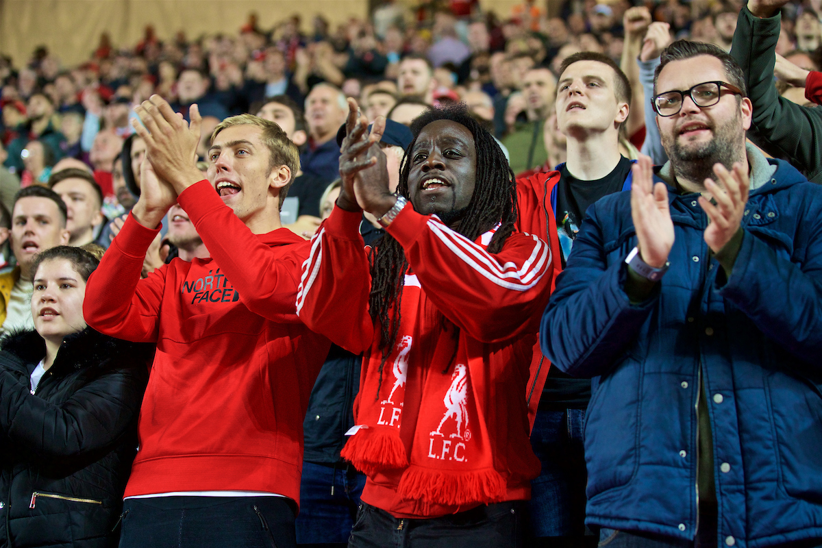 MILTON KEYNES, ENGLAND - Wednesday, September 25, 2019: Liverpool supporters during the Football League Cup 3rd Round match between MK Dons FC and Liverpool FC at Stadium MK. (Pic by David Rawcliffe/Propaganda)