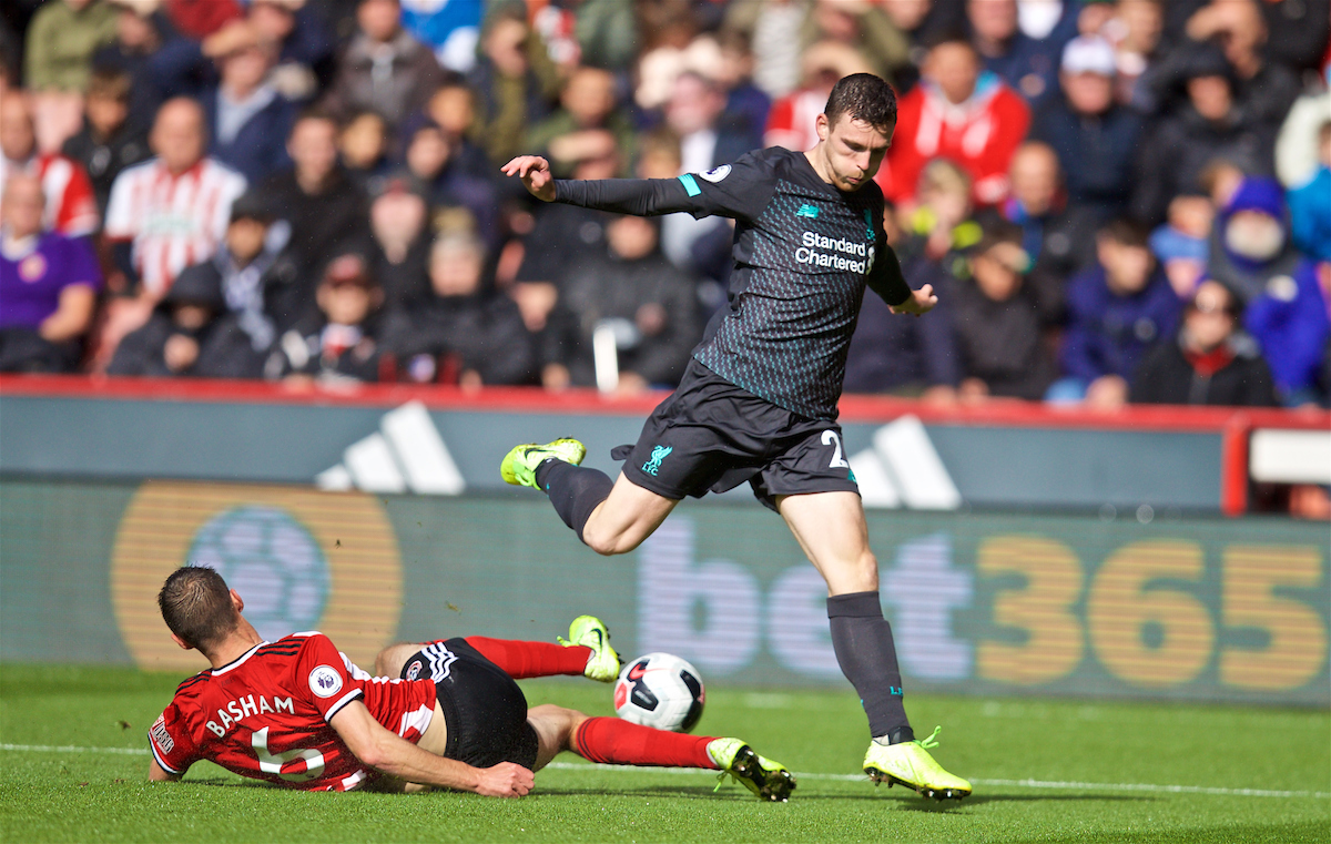 SHEFFIELD, ENGLAND - Thursday, September 26, 2019: Liverpool's Andy Robertson is tackled by Sheffield United's Chris Basham during the FA Premier League match between Sheffield United FC and Liverpool FC at Bramall Lane. (Pic by David Rawcliffe/Propaganda)