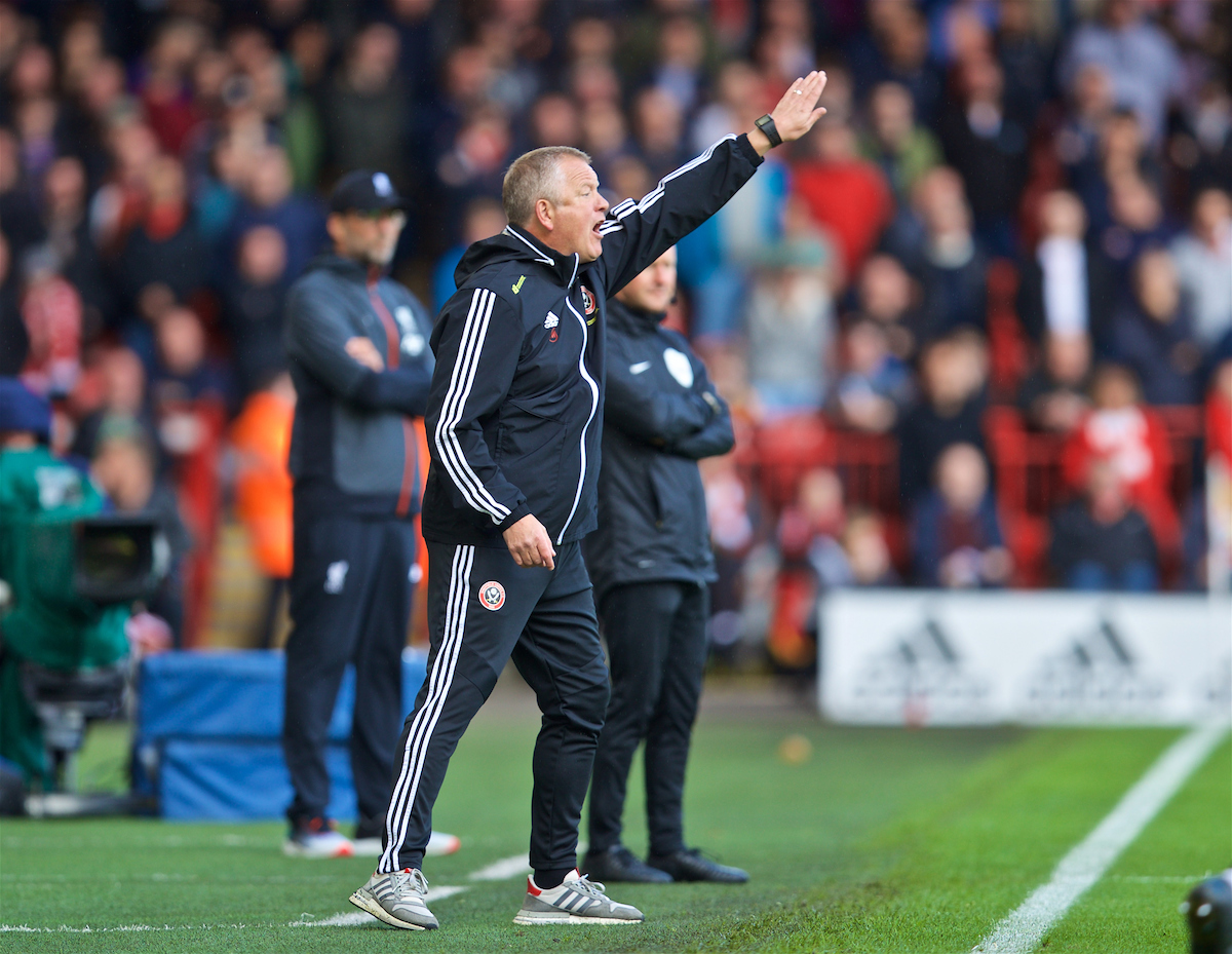 SHEFFIELD, ENGLAND - Thursday, September 26, 2019: Sheffield United's manager Chris Wilder during the FA Premier League match between Sheffield United FC and Liverpool FC at Bramall Lane. (Pic by David Rawcliffe/Propaganda)