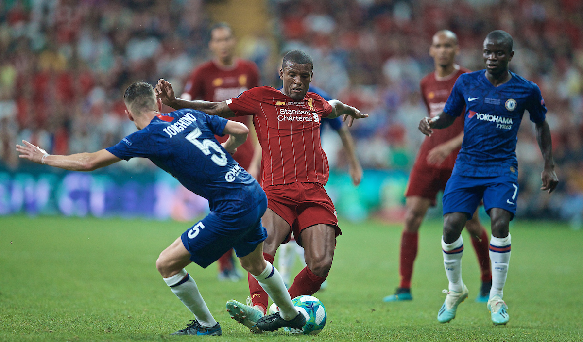 ISTANBUL, TURKEY - Wednesday, August 14, 2019: Liverpool's Georginio Wijnaldum during the UEFA Super Cup match between Liverpool FC and Chelsea FC at Besiktas Park. (Pic by David Rawcliffe/Propaganda)
