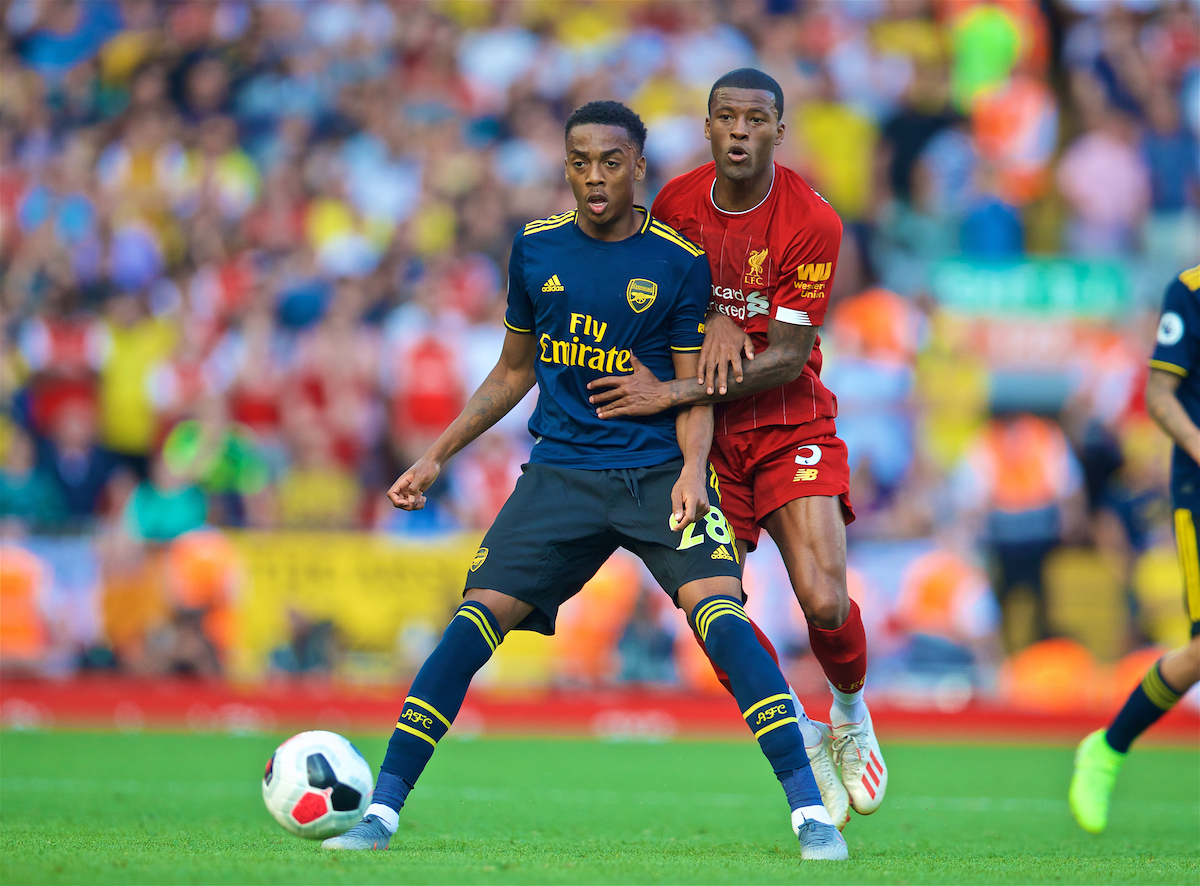 LIVERPOOL, ENGLAND - Saturday, August 24, 2019: Arsenal's Joe Willock (L) Liverpool's Georginio Wijnaldum during the FA Premier League match between Liverpool FC and Arsenal FC at Anfield. (Pic by David Rawcliffe/Propaganda)