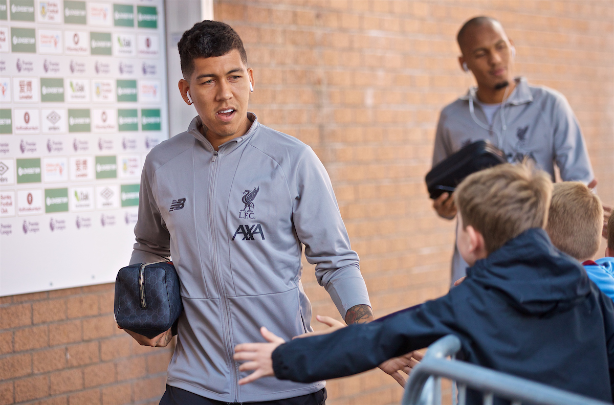 BURNLEY, ENGLAND - Saturday, August 31, 2019: Liverpool's Roberto Firmino arrives before the FA Premier League match between Burnley FC and Liverpool FC at Turf Moor. (Pic by David Rawcliffe/Propaganda)