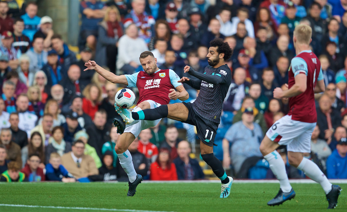 BURNLEY, ENGLAND - Saturday, August 31, 2019: Liverpool's Mohamed Salah (R) and Burnley's Erik Pieters during the FA Premier League match between Burnley FC and Liverpool FC at Turf Moor. (Pic by David Rawcliffe/Propaganda)