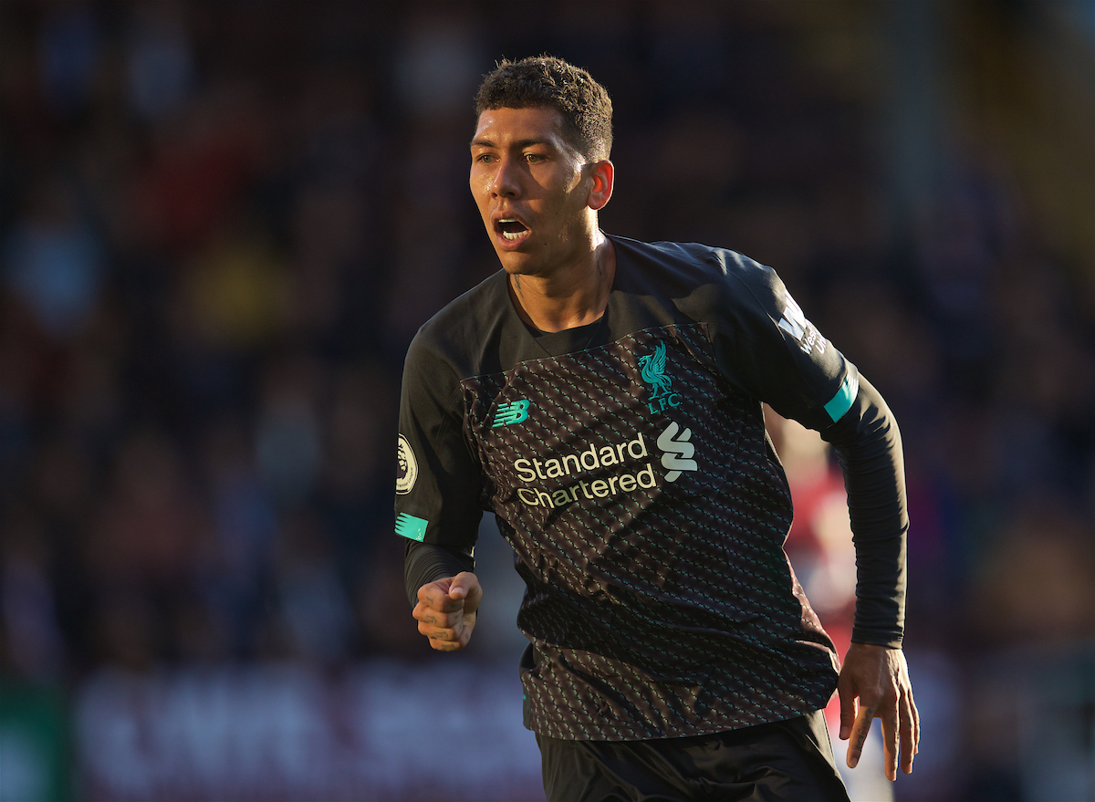 BURNLEY, ENGLAND - Saturday, August 31, 2019: Liverpool's Roberto Firmino during the FA Premier League match between Burnley FC and Liverpool FC at Turf Moor. (Pic by David Rawcliffe/Propaganda)