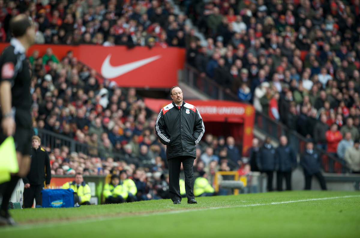 MANCHESTER, ENGLAND - Sunday, March 23, 2008: Liverpool's manager Rafael Benitez looks dejected as his side is defeated 3-0 by Manchester United during the Premiership match at Old Trafford. (Photo by David Rawcliffe/Propaganda)