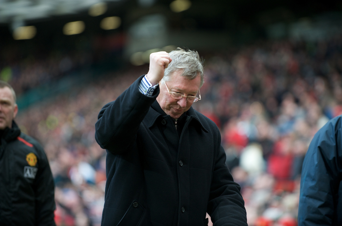 MANCHESTER, ENGLAND - Sunday, March 23, 2008: Manchester United's manager Alex Ferguson celebrates his side's 3-0 victory over Liverpool in the Premiership match at Old Trafford. (Photo by David Rawcliffe/Propaganda)