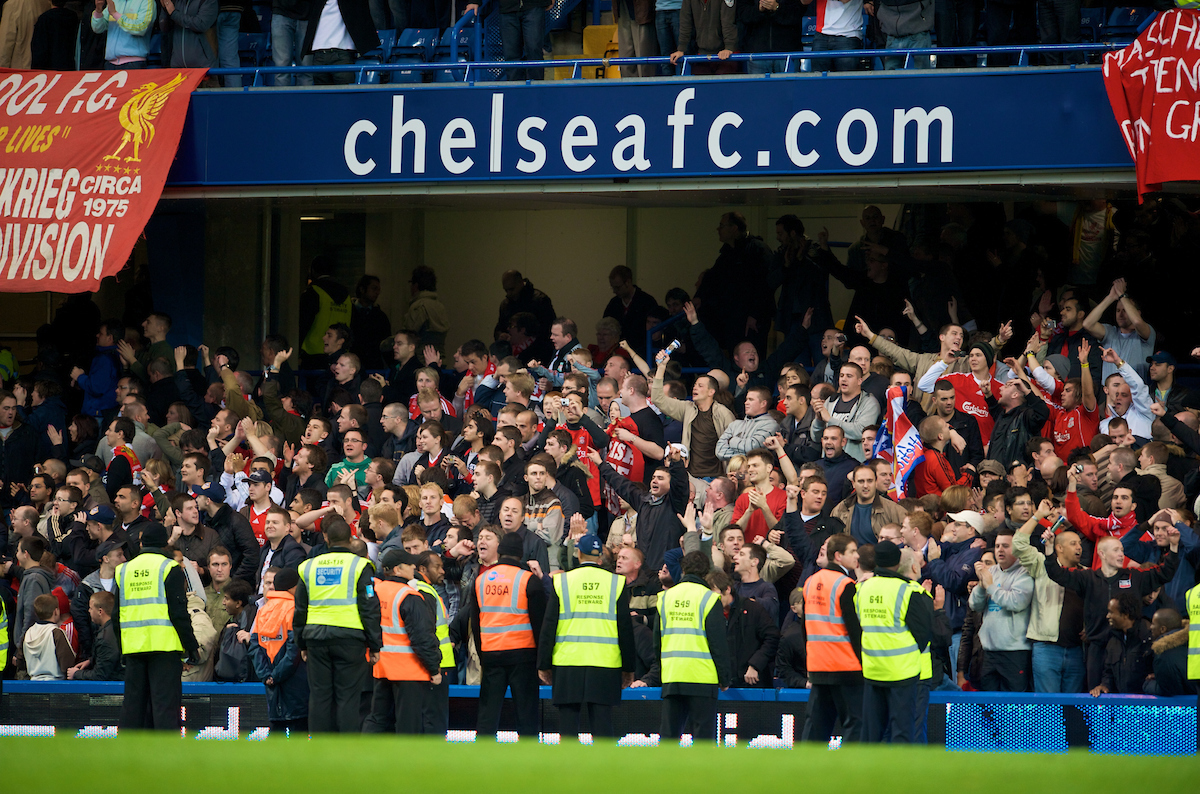 LONDON, ENGLAND - Sunday, October 26, 2008: Liverpool supporters celebrate their side's 1-0 victory over Chelsea during the Premiership match at Stamford Bridge. (Photo by David Rawcliffe/Propaganda)