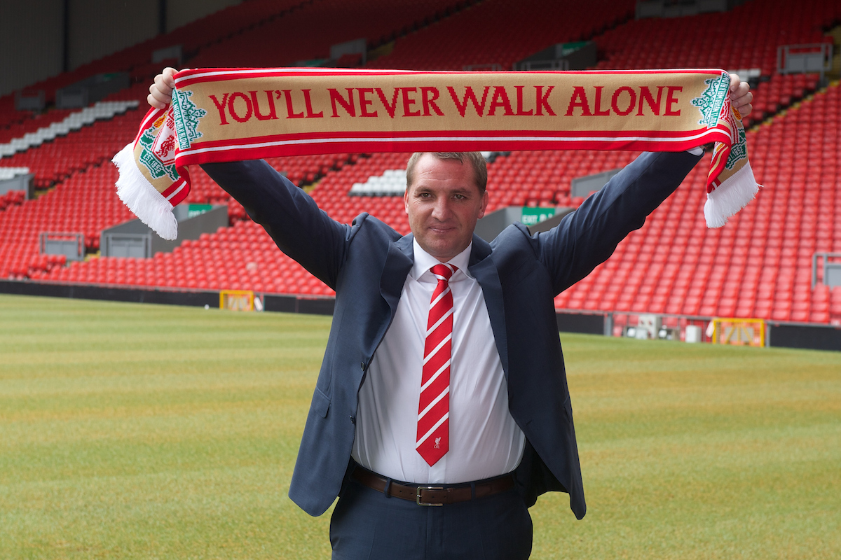 LIVERPOOL, ENGLAND - Friday, June 1, 2012: Liverpool's new manager Brendan Rodgers poses during a photocall to announce him as the new manager of Liverpool Football Club at Anfield. (Pic by Chris Brunskill/Propaganda)
