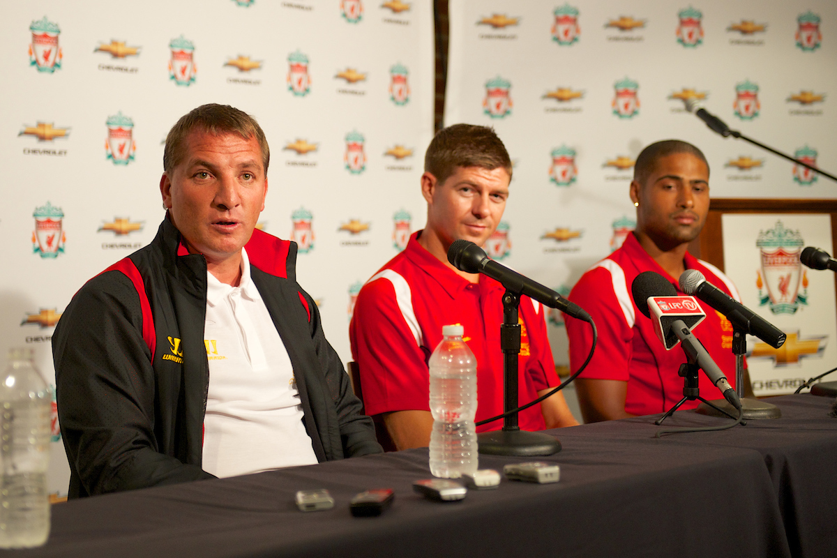 BOSTON, MA - Tuesday, July 24, 2012: Liverpool's manager Brendan Rodgers, captain Steven Gerrard and Glen Johnson during a press conference at Fenway Park, home of the Boston Red Sox, to announce a four-year sponsorship deal with car marker Chevrolet, ahead of their second preseason match of the North American tour, against AS Roma. (Pic by David Rawcliffe/Propaganda)