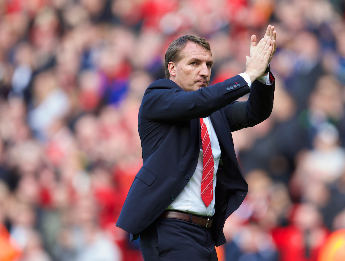 LIVERPOOL, ENGLAND - Sunday, May 11, 2014: Liverpool's manager Brendan Rodgers after the final game of the season, a 2-1 victory over Newcastle United, during the Premiership match at Anfield. (Pic by David Rawcliffe/Propaganda)