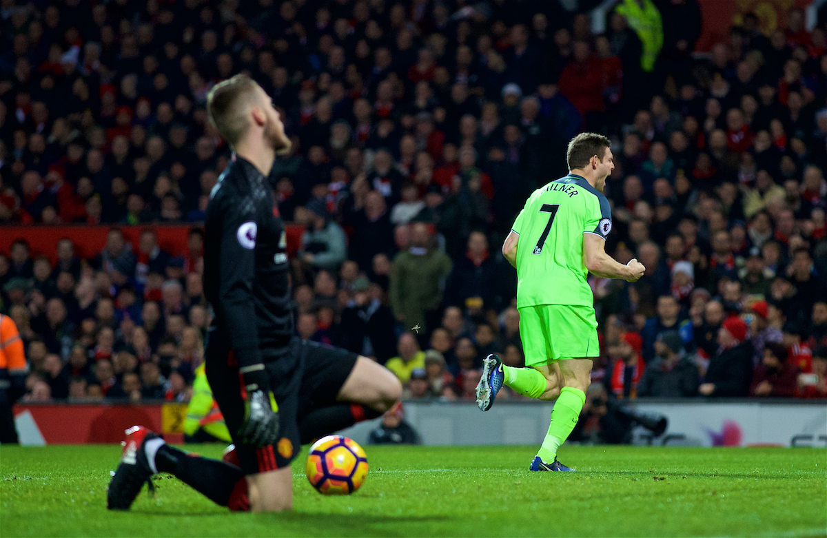 MANCHESTER, ENGLAND - Sunday, January 15, 2017: Liverpool's James Milner celebrates scoring the first goal against Manchester United's goalkeeper David de Gea from the penalty spot during the FA Premier League match at Old Trafford. (Pic by David Rawcliffe/Propaganda)