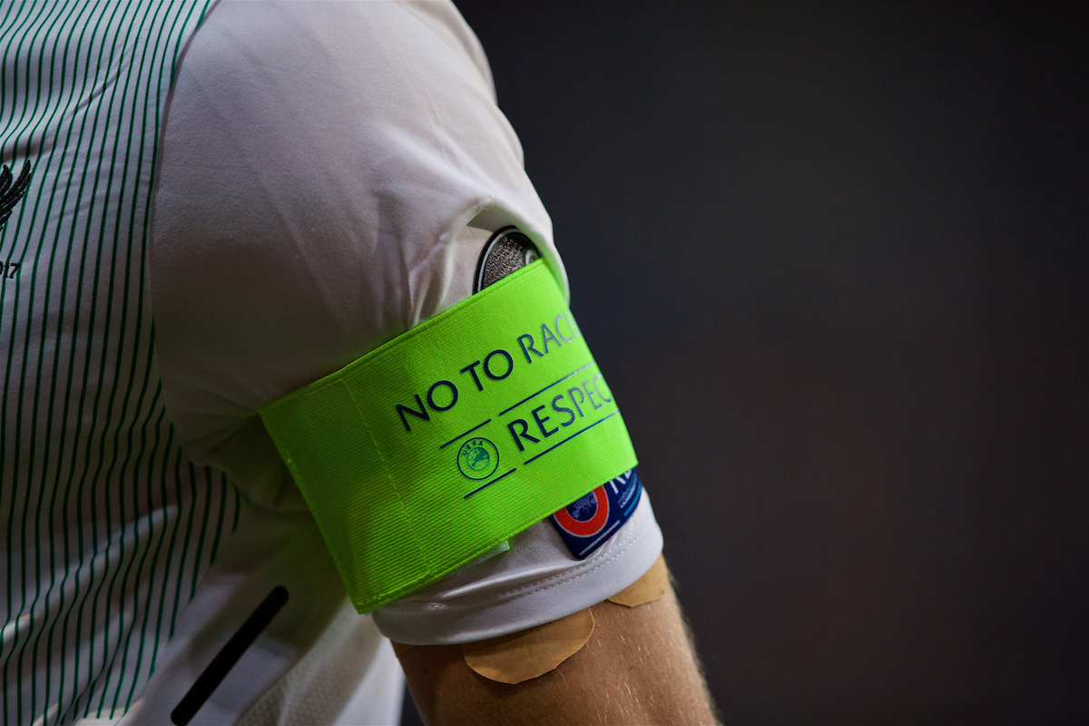 """SINSHEIM, GERMANY - Tuesday, August 15, 2017: The captain's armband of Liverpool's James Milner with """"No to racism"""" and """"respect"""" during the UEFA Champions League Play-Off 1st Leg match between TSG 1899 Hoffenheim and Liverpool at the Rhein-Neckar-Arena. (Pic by David Rawcliffe/Propaganda)"""