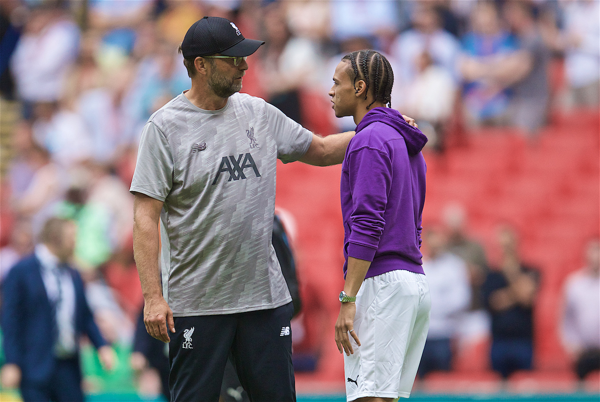 LONDON, ENGLAND - Sunday, August 4, 2019: Liverpool's manager Jürgen Klopp with Manchester City's Leroy Sane after the penalty shoot out to decide the FA Community Shield match between Manchester City FC and Liverpool FC at Wembley Stadium. Manchester City won 5-4 on penalties after a 1-1 draw. (Pic by David Rawcliffe/Propaganda)
