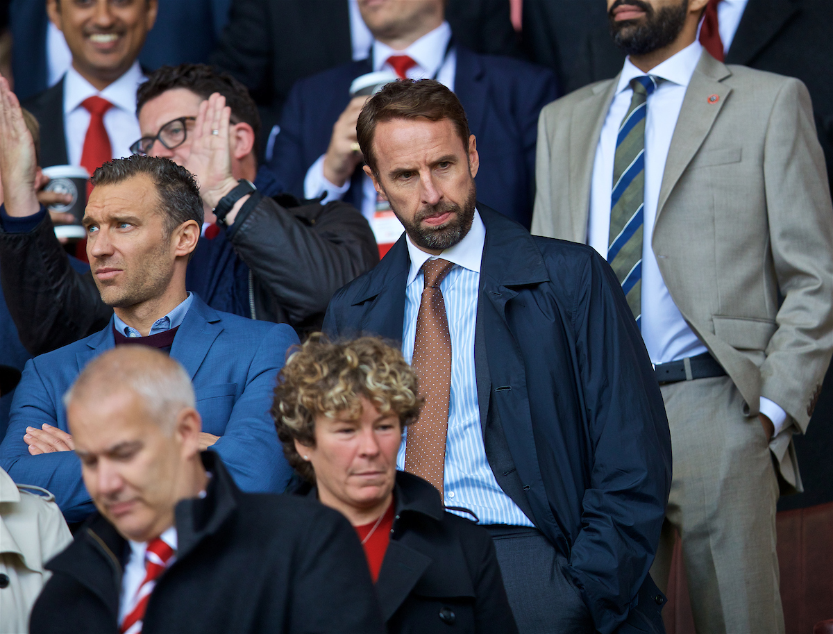 SHEFFIELD, ENGLAND - Thursday, September 26, 2019: England manager Gareth Southgate during the FA Premier League match between Sheffield United FC and Liverpool FC at Bramall Lane. (Pic by David Rawcliffe/Propaganda)