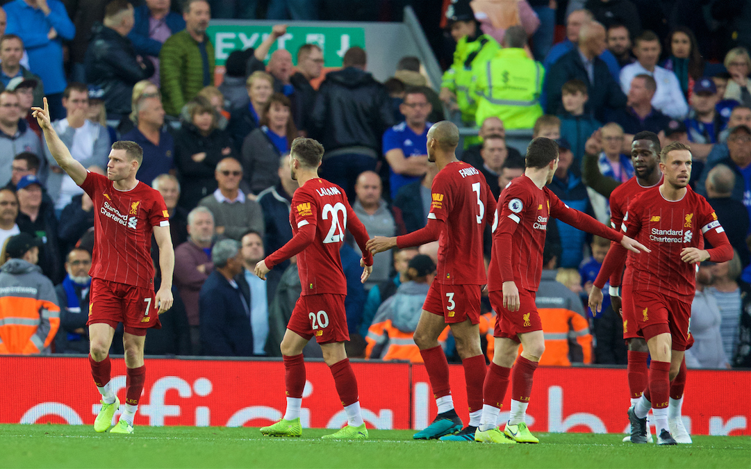 LIVERPOOL, ENGLAND - Saturday, October 5, 2019: Liverpool's James Milner celebrates after scoring the winning second goal, an injury time penalty, during the FA Premier League match between Liverpool FC and Leicester City FC at Anfield. Liverpool won 2-1. (Pic by David Rawcliffe/Propaganda)